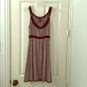 Striped black and white knit dress